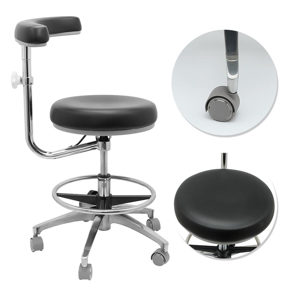 Medical Dental Stool Dentist Chair With 360 Degree Rotation + Armrest Height Adjustable PU Leather Assistant Stool Chair