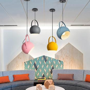 Nordic Restaurant Lights Creative Bar Modern Simple Personality Trend Coffee Shop Iron Macaron Restaurant Pinkycolor Chandelier