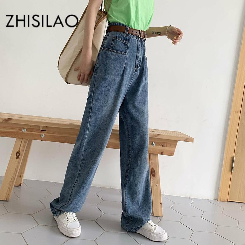 High Waist Women Straight Jeans Plus Size Loose Vintage Boyfriends Mom Wide Leg Jeans Mujer Street Kpop Jeans Trousers 2019