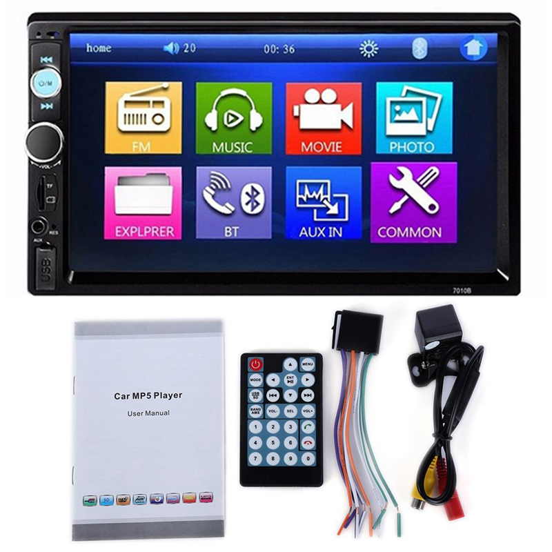 7010B 2 Din Car Video Player 7 Inch LCD Press Screen Bluetooth FM Radio MP5 Player with 720P Camera image