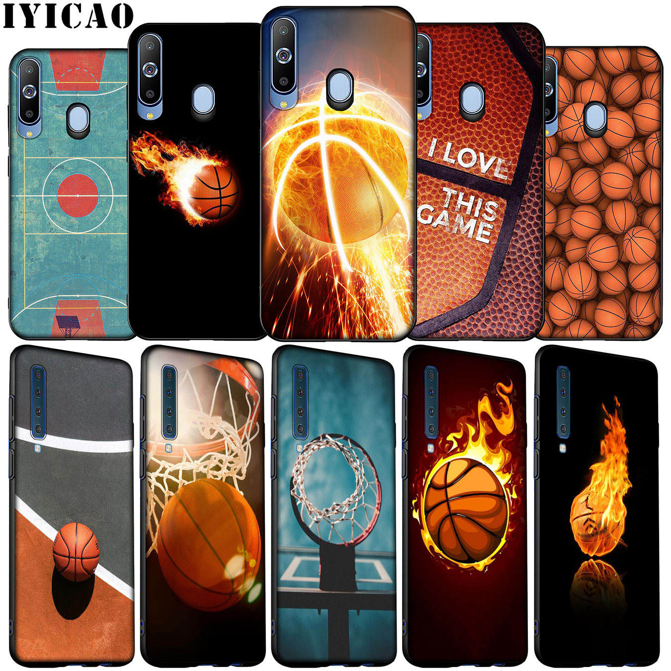 IYICAO Basketball Art Shoot Soft Silicone Case for Samsung Galaxy A70 A50 A60 A40 A30 A20 A10 M10 M20 M30 M40 A20E Black Cover image