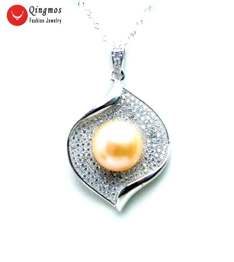 Qingmos argent 26*36mm goutte pendentif collier pour femmes avec naturel 11-13mm plat rond naturel rose perle 16