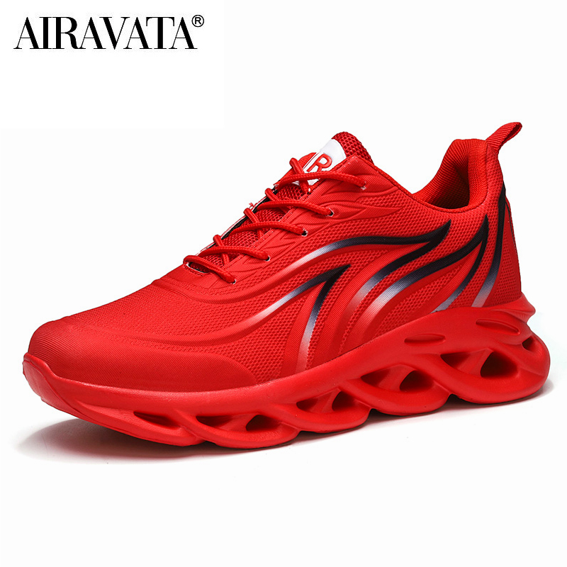 Red-Men's Flame Printed Sneakers Flying Weave Comfortable Running Sports Shoes