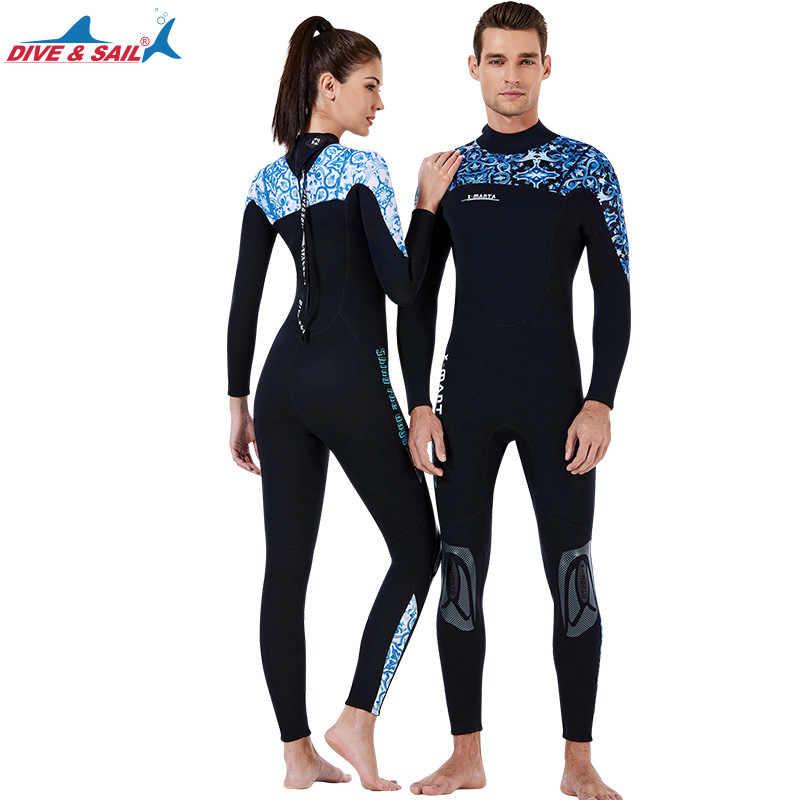 Hommes femmes 3mm néoprène combinaison complète combinaison de surf plongée sous-marine plongée en apnée combinaison de natation correspondant Couples à manches longues combinaison humide