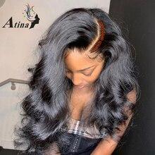 גוף גל פאה 13x6 תחרה מול שיער טבעי פאות בלתי נראה רמי מראש קטף שוויצרית שקוף Hd תחרה פאה עבור שחור נשים עמוק חלק