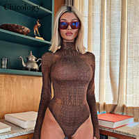 Chicology crocodile print women sexy bodysuit long sleeve turtleneck body suit 2019 autumn winter female party casual clothes