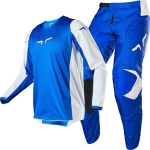 Набор для мотокросса Fox MX, набор для взрослых из джерси и брюк синего и белого цвета, модель 2020 года, бесплатная доставка