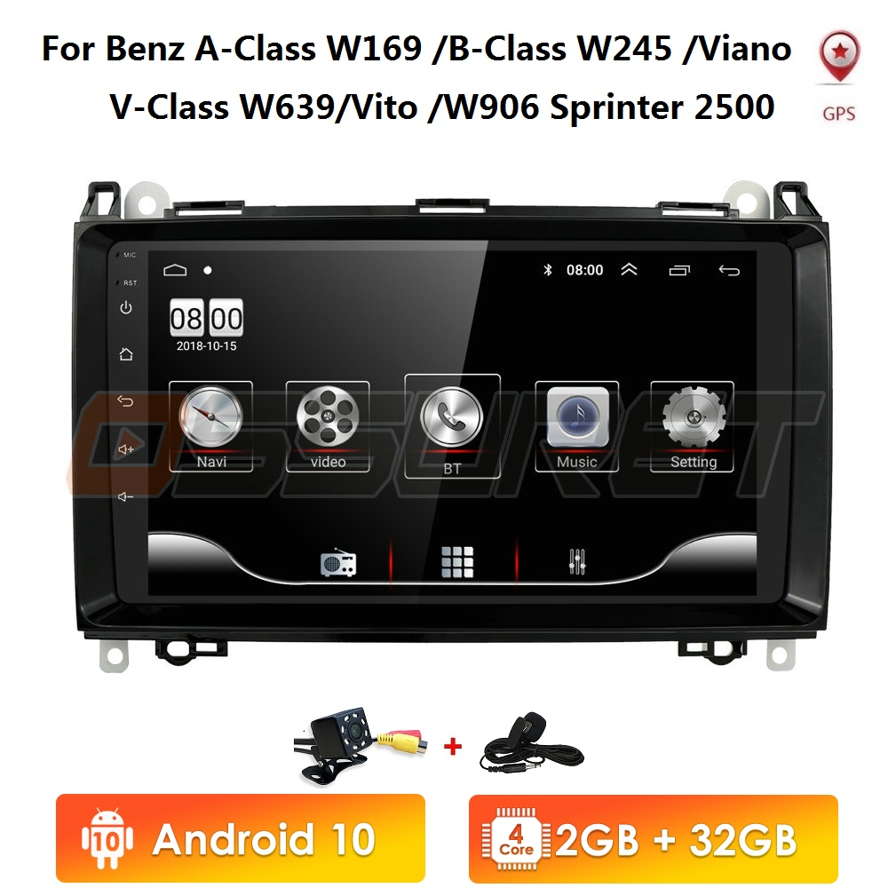 Car Multimedia Player Android 10 2 Din GPS Autoradio For Mercedes Benz B W245 B150 B160 B170 B180 B200 B55 2004-2012 2G+32G WIFI image