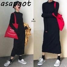 Asapgot-Vestido de punto Vintage de Corea, suéter negro, suelto, largo, informal