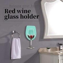 Пластиковый держатель для винного стекла для ванны, душа, красное вино, стекло, шелковистый крепкий винный стакан, стеллаж для хранения, кухонная вешалка