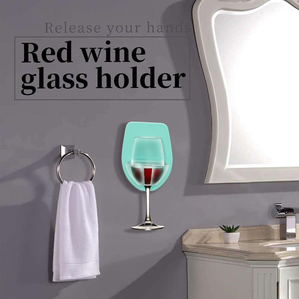 Новый пластиковый держатель для Винных Бокалов для ванны, душа, бокалов для красного вина, крепкий и шелковистый Стеллаж Для Хранения Винных Бокалов, кухонная подвесная стойка
