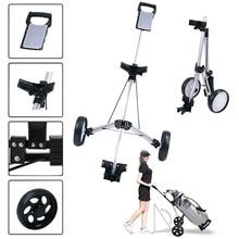 Swivel Cart Trolley Steel-Light Golf Golf-Cart/cup-Holder Foldable 2-Wheel Stand Push-Pull