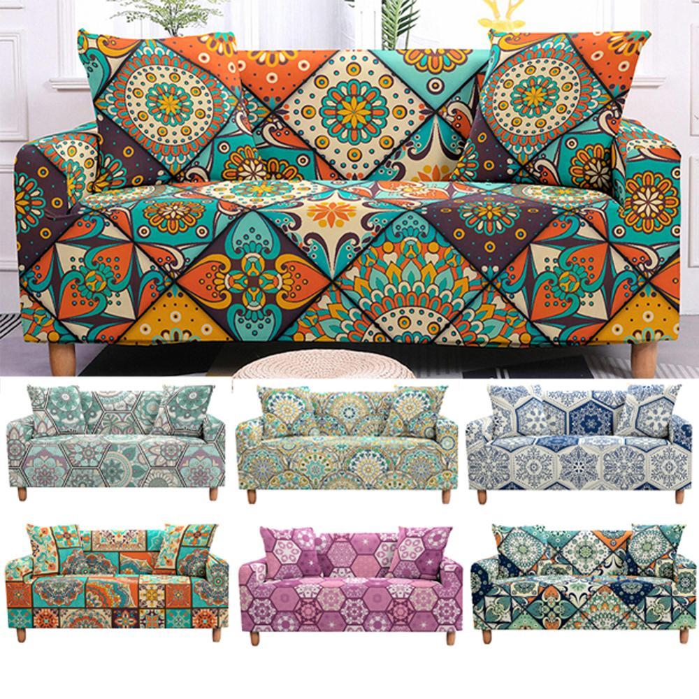 Stretch Sofa Cover Set Mandala Couch Cover Elastic Sofa Cover for Living Room Sofa Protector Pet