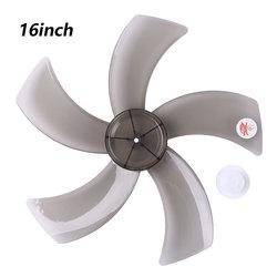 Grand vent noir 16 pouces ménage en plastique ventilateur lame 5 feuilles avec couvercle d'écrou pour Midea ventilateur ménage Table Fanner accessoires
