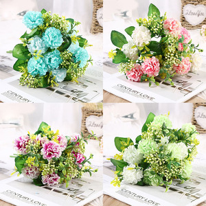 A bunch of peony artificial flower high quality luxury bouquet wedding decoration home table decoration sky blue fake flower hyd