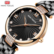 MINIFOCUS Brand Luxury Women Watches Waterproof Black Stainless Steel Reloj Mujer Fashion Casual High Quality Quartz Ladys Watch