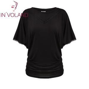 T-shirts de verão casual com decote em v bat manga curta retalhos de renda aparada solta topos