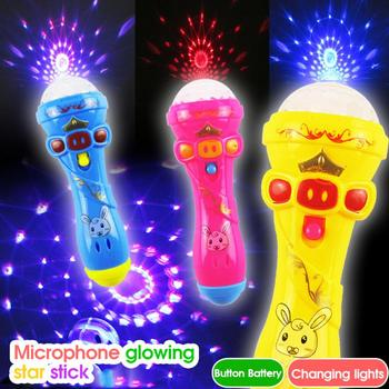 LED Light Flashing Projection Microphone Torch Shape Kids Baby Cute Toy Gift NEW Creative Luminous Toys Glow Thumbs Tips