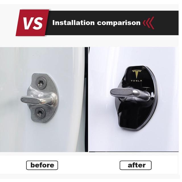 3D Car Door Lock Buckle cover Car stickers car accessories For tesla model 3 model X model y car decoration 5