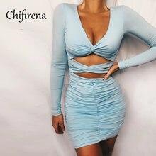 Осеннее облегающее мини платье chifirena 2020 с v образным вырезом