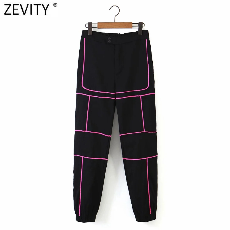 Zevity New Women color matching Reflection design cargo pants femme safari style pocket Trousers chic zipper fly long pants P897