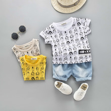 Baby Boy Girl Summer Clothes Infant Cartoon Pattern T Shirt Shorts 2pcs/sets Toddler Cotton Costume Children Fashion Sport Suits wholesale baby girl clothes summer blue sleeveless top fish embroidery decor pattern fashion ruffle shorts matching boy t shirt