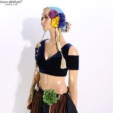Oryantal dans kadife üst yağ şans Tribal Choli Belly dans kostümü damla kollu üst CJJ50