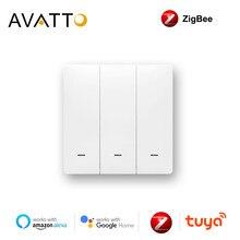 Avatto tuya zigbee switch com/sem neutro, inteligente sem fio padrão da ue 2 maneiras de controle luz switche trabalhar com alexa, casa do google