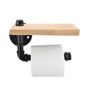 Image 2 - Porte rouleau papier toilette avec support pour téléphone étagère murale flottant support de tuyau deau articles ménagers industriels rustiques