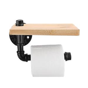 Image 2 - Toilet Paper Roll Holder with Phone Holder Wall Mounted Shelf Floating Water Pipe Rack Rustic Industrial Household Items