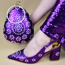 Latest Italian Women Shoes and Bag Set Hot Sales Designs Italian Shoes with Matching Bags Party Shoe and Bag for African Women cheap ascendancy Slingbacks Square heel Cotton Fabric Super High (8cm-up) Fits true to size take your normal size Fashion CRYSTAL