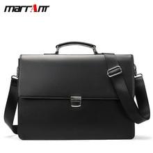 Business fashion mens portable briefcase minimalist crazy horse leather large capacity shoulder messenger bag