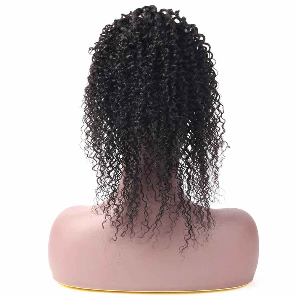 Salonchat Kinky Curly Ponytails Clip Ins Brazilian Remy Hair Clip In Human Hair Extensions 100% Natural Color Kinky Curly Hair