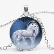 The Sky Horse Pendant Necklace, Glass Necklace and Chain In of Western Mythology.