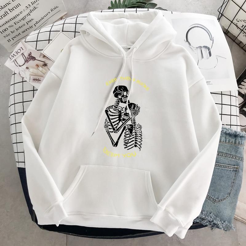 Punk style women's hoodie skull long sleeve casual top goth skeleton dark black 2021 loose ulzzang fashion women's sweatshirt 24