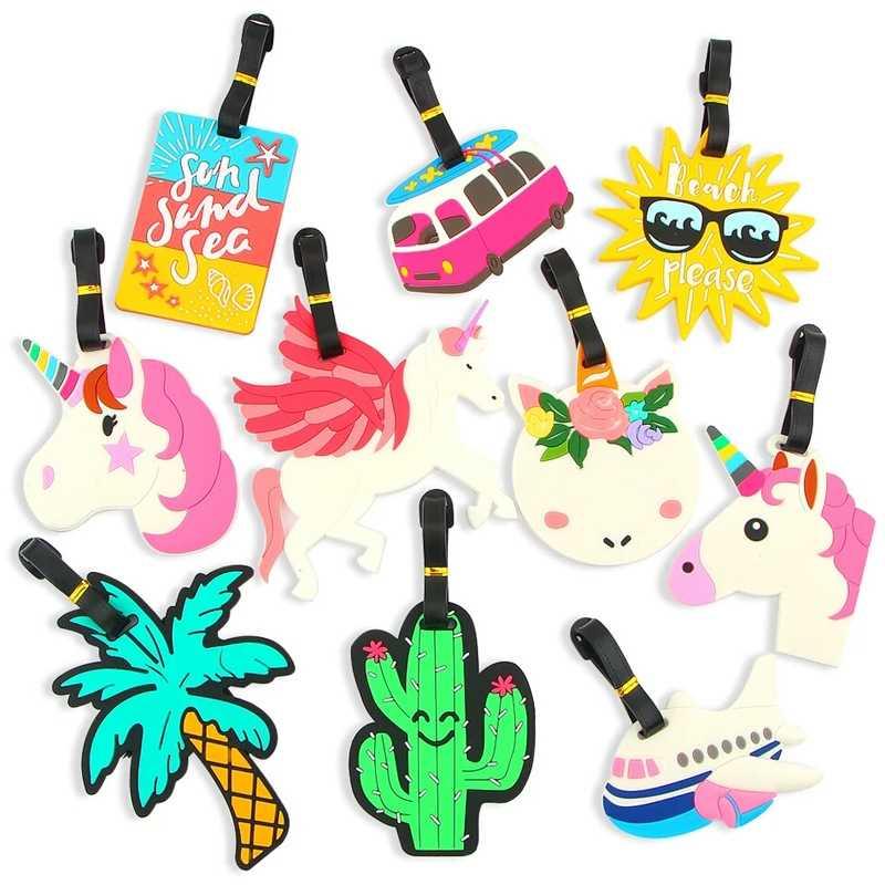 1PCs Cartoon Gepäck Tag Nette Einhorn Tropical Beach Stil Name Adresse Halter Mode Koffer Tags Gepäck Internat Tags Label