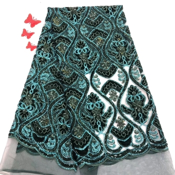 Madison Green Nigerian Lace Fabric with Sequins High Quality Velvet Flocking Sequins Lace Fabric for Wedding Party Velevt Lace