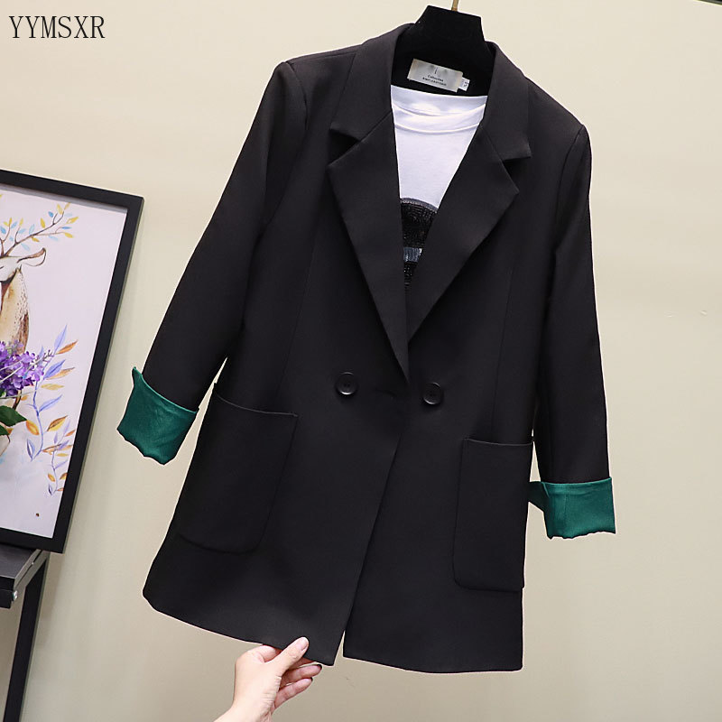 High quality women's suit high quality jacket feminine 2020 New Elegant Lady Long Black Blazer Office coat business attire