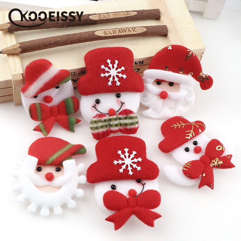 5pcs Santa Claus/Snowman Ornament Patch Cartoon Plush Handmade Christmas Tree Lights Christmas Decorations Christmas Gifts