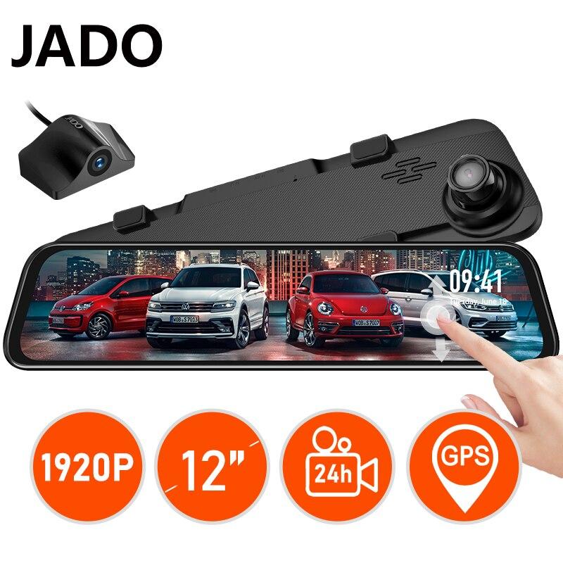 JADO G840S z przodu 1296P tylne 1080P 12-cal kamera samochodowa obiektyw wideorejestrator jazdy kamera na deskę rozdzielczą 24 godzin tylna kamera samochodowa