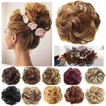 цена на jeedou Heat Resistant Synthetic Hair Elastic Chignon Hairpiece Curly Bun Mix Color Wavy Chignon Hair Extension