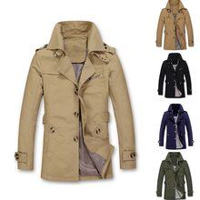 Winter Coat Men Long Windbreaker Business Trench Coat Casual Plus Size Single Breasted Slim Mens Trench Jackets Overcoat(China)
