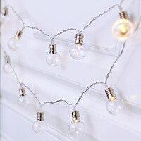 Weihnachten Laterne LED Nordic Retro Wind Dekoration Licht LED Transparente Glühbirne AA Batterie Box Gewinde Lampe Licht String