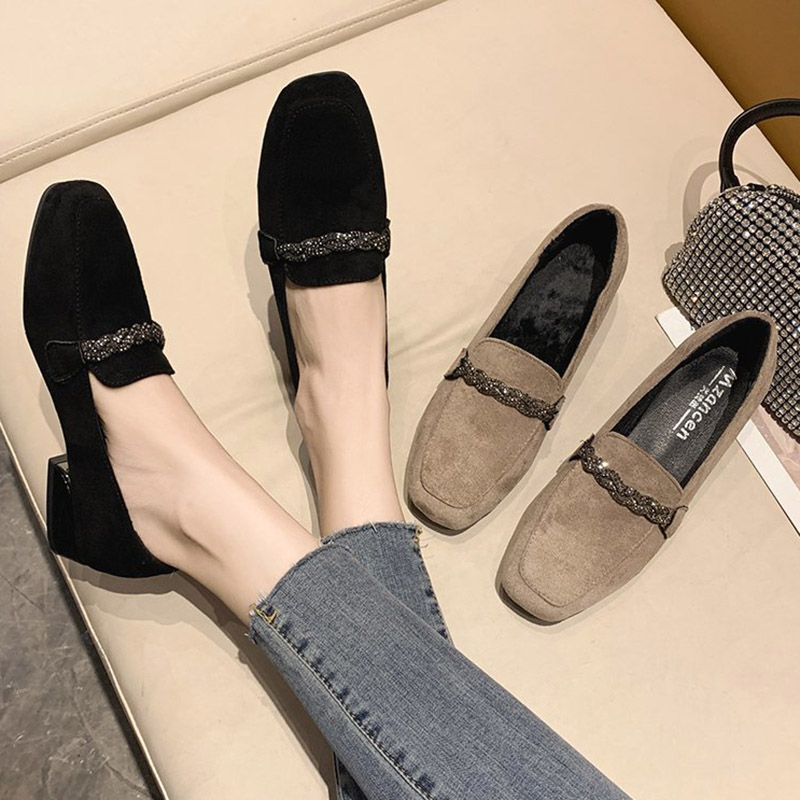 2020 Autumn Winter Women Loafers Low Heels Boat Shoes Square Toe Dress Shoes Chain Faux Suede Plush Warm Ladies Shoes 8409N