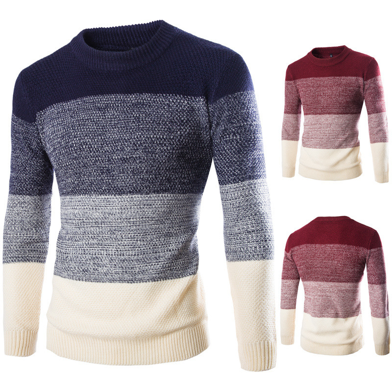 2019 Spring And Autumn New Style Men's Sweater Pullover British-Style Slim Fit O Neck Crew Neck Color Panel Y237