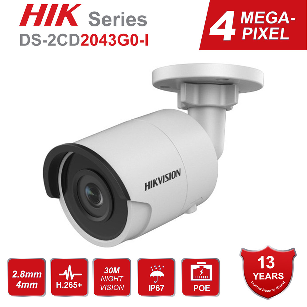 Hikvision H.265 4MP Bullet IP Camera PoE DS-2CD2043G0-I 4 Megapixel IR Video Surveillance With SD Card Slot Face Dectection