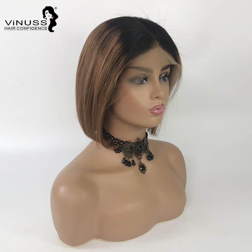 Short Bob Lace Wig Fake Scalp 13x6 Lace Front Human Hair Wig Ombre 1B/30 Brazilian Human Hair Wig Pre Plucked For Women