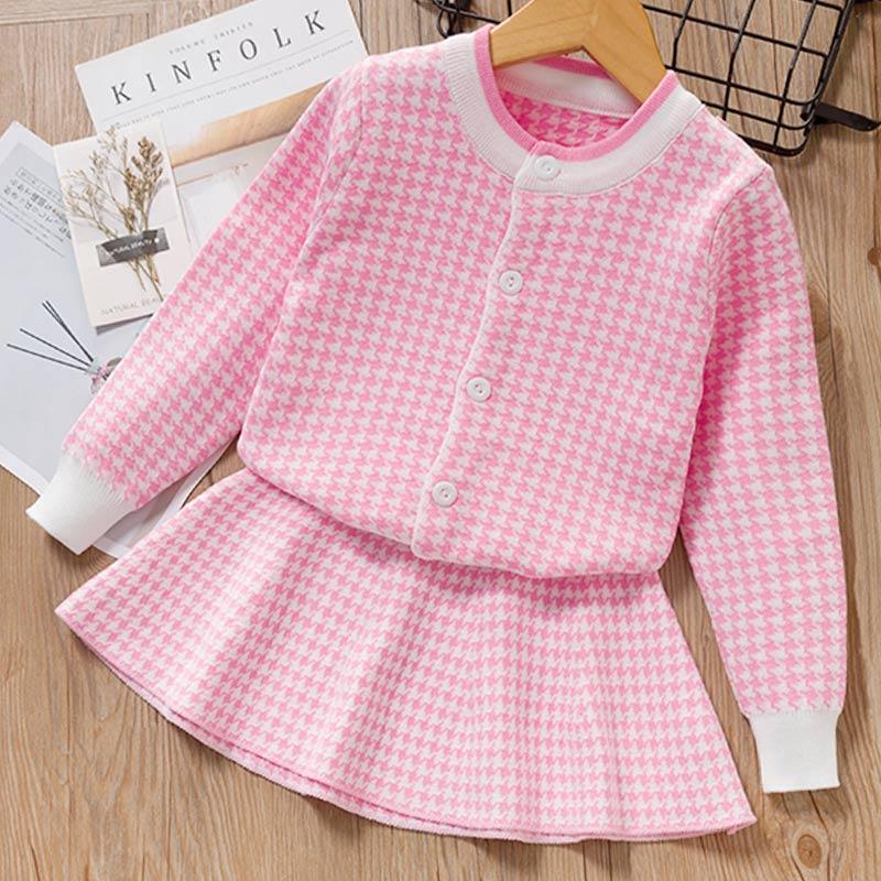 Autumn Winter Plaid print Sweater Dress Set Casual Girls Clothing Sets Girls Clothes Suit Children Clothes Kids Clothing Sets 4