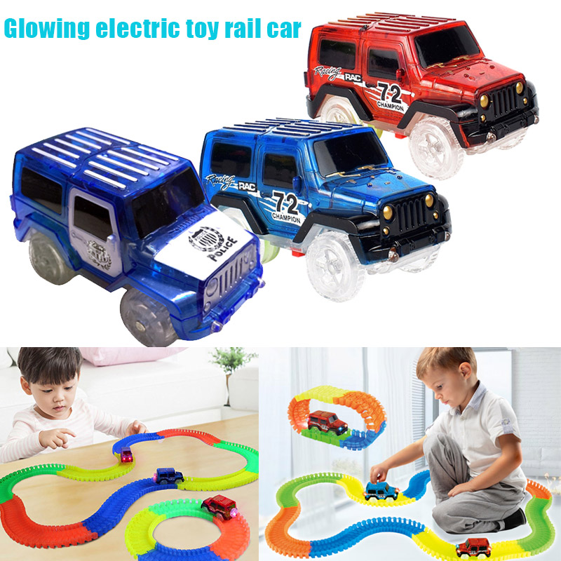 Child Toy Car LED Light Up Jeep Cars Glow In The Dark Racing Track Accessories For Boys Girls AN88