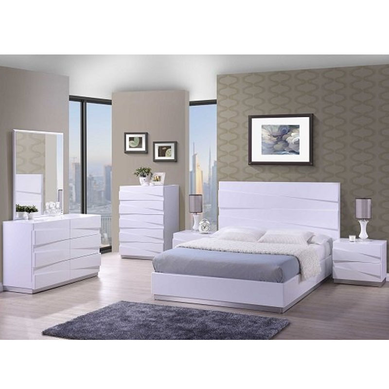 Unique Modern Style White High Gloss Lacquer Bedroom Set Bedroom